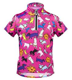 Girls' Cycling Jerseys - Its Raining Cats and Dogs Childrens Cycling Jersey  Pink -- To view further for this item, visit the image link.