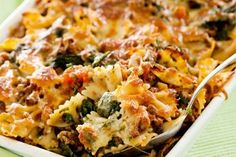 Beef, spinach and pasta bake