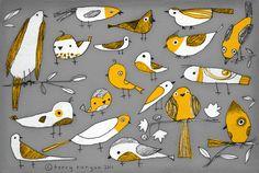 BIRD BUNCH--Terry Runyan  Prints:  http://society6.com/TerryRunyan/Bird-Bunch_Print#