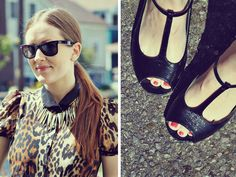 what I wore //  leopard top and blowfish shoes mary janes