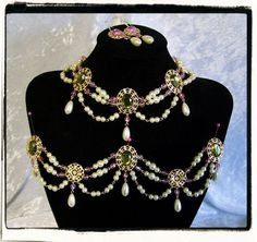 Dreaming of Spring Complete Set Custom Made Tudor Renaissance Necklace Girdle Bodice Jewels and Earrings by RecycledRockstah on Etsy https://www.etsy.com/listing/171054393/dreaming-of-spring-complete-set-custom