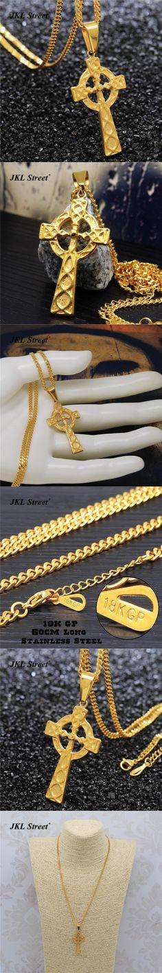 Men's Stainless Steel Gold Triquetra Viking Triple Horn Of Odin Celtic Cross Necklace & Pendant HipHop Rapper's Necklace NJF2275
