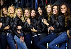 Victoria's Secret models Jourdan Dunn, Karlie Kloss, Candice Swanepoel, Doutzen Kroes, Lily Aldridge, Adriana Lima, Behati Prinsloo, Alessandra Ambrosio and Joan Smalls at the Bond Street Media Event and photo-call.