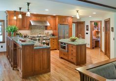 Arts and Crafts style custom cabinets made by Crown Point Cabinetry shown in different homes Farmhouse Style Kitchen, New Kitchen, Kitchen Ideas, Kitchen Planning, Craftsman Kitchen, Kitchen Stuff, Kitchen Island, Kitchen Decor, Kitchen Cabinet Styles