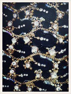Détail d'une robe rebordée de strass en backstage du défilé Valentino haute voiture  //  Detail of a diamante dress backstage at Valentino haute couture