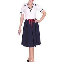 Tatyana pinup On the Yacht sailor dress, size M New without tags Tatyana brand (formerly Bettie Page) sailor pinup dress in a size medium. It's a very fun vintage style that's no longer on their website. It fits me perfectly at 36-27 with open hips Tatyana Dresses Midi