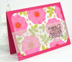 Love the stamping on vellum over print background