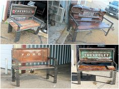 Vintage truck parts transformed into benches #Benches, #CarParts, #Furniture, #Recycled, #Trucks, #Vintage