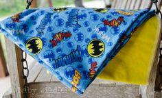 Baby Boy Blankets Receiving Flannel Swaddle Wrap Large Batman Superhero Comic Book Blue Yellow - Holy Comic Books, Batman. $25.00, via Etsy.