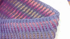"""Brioche on the knitting machine machknit brioche by Dionne Strong """"To do this, I began with a circular cast on and a couple rows of 1x1 rib. Push in both tuck buttons on main bed. Set ribber for plain knitting. Knit two rows. Change colors. Set main bed for plain knitting. Push in both part buttons and tuck button on ribber . Knit 2 rows. Continue swapping colors and tuck settings every 2 rows."""