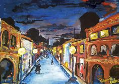 Budapest nightlife watercolor mood