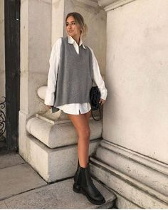 Vest Outfits, Cute Casual Outfits, Stylish Outfits, Sweater Vest Outfit, Preppy Outfits, Winter Fashion Outfits, Look Fashion, Spring Outfits, Outfit Summer