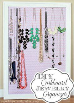 Love Of Family & Home: DIY Corkboard Jewelry Organizer