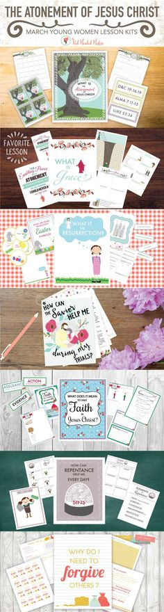 March Young Women: The Atonement of Jesus Christ. Seven amazing lesson kits! Red Headed Hostess, Young Women Lessons, Fun Activities To Do, Faith Bible, Love The Lord, Relief Society, Bible Lessons, Atonement, Sunday School