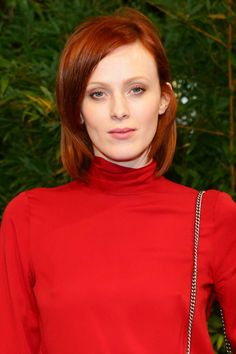 Best Celebrity Beauty Looks This Week  - Karen Elson at Gucci with shiny red hair and glowing porcelain skin