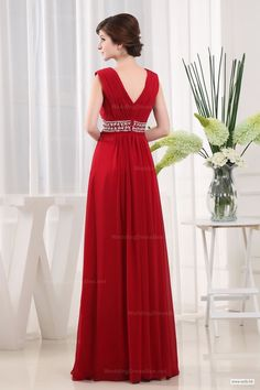 fall wedding V-Neck Beaded Waist Chiffon Slim A-Line Evening Dress $138.98