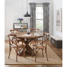 Give your small dining room or breakfast nook an instant makeover by adding this excellent Home Decorators Collection Cane Bark Round Dining Table. Grey Round Dining Table, Walnut Dining Table, Dining Chairs, Dining Rooms, Cafe Chairs, Dining Area, Eat In Kitchen Table, Small Round Kitchen Table, Kitchen Nook