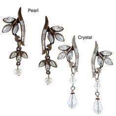 Sweet Romance Vintage Crystal or Glass Pearl Vine Earrings   $30
