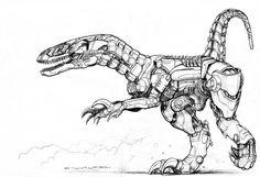 Black Market Robot Raptor by ChuckWalton on DeviantArt Creature Drawings, Animal Drawings, Animal Robot, Combat Robot, Robot Dinosaur, Character Art, Character Design, Dinosaur Coloring Pages, Amarillis
