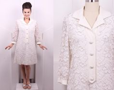 Vintage 1960's Jack Bryan White Beaded Cocktail Dress • 60's Designer Long Sleeve Shirt Dress • Size