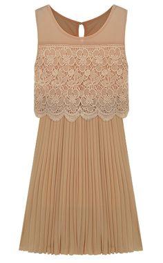 Khaki Sleevele Lace Front Pleated Hem Chiffon Dress US$32.62