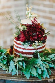 27 Naked Fall Wedding Cakes That Will Make Your Mouth Water: #6. Red velvet naked cake with bold flowers