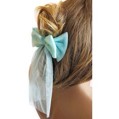 Hair Clip, Ribbon Hair, headband, mint, tulle, hair accessories, accessory, women, for her, gift ideas, For Women ($19) found on Polyvore featuring accessories, hair accessories, barrette hair clips, head wrap headband, hair band headband, ribbon headband and head wrap hair accessories