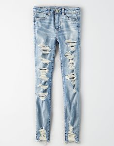 Shop American Eagle Ne(X)t Level Stretch Jeans for Women, designed to never bag out or lose shape. Browse Ne(X)t Level jeans in fits like jeggings, skinny, Curvy, and more! Cute Ripped Jeans, Ae Jeans, High Jeans, High Waist Jeans, Jeans Size, Skinny Jeans, Short Outfits, Simple Outfits, Cute Outfits