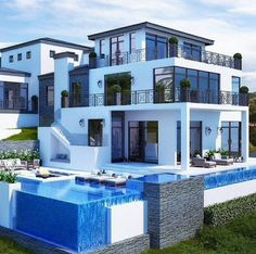 """Luxury Homes Interior Dream Houses Exterior Most Expensive Mansions Plans Modern 👉 Get Your FREE Guide """"The Best Ways To Make Money Online"""" Dream Home Design, Modern House Design, Beautiful Modern Homes, Casas The Sims 4, Dream Mansion, Mansion Houses, Luxury Homes Dream Houses, Dream Homes, House Goals"""