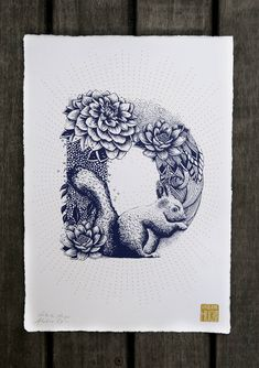 The Illustrated Alphabet by Valérie Hugo    French illustrator Valérie Hugo, specialized in silkscreen printing and wall painting, has recently did a complete floral and animal alphabet. From A to Z, we see letters shaping from shapes of birds, flowers, sea animals and felines. The letters ara available for 35€ each.