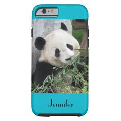 """Tough"" iPhone 6 Case Giant Panda Scuba Blue Background - This sturdy case for the iPhone 6 is part of our ""Giant Pandas"" collection, which includes matching gifts, greeting cards, and wrapping paper. What a wonderful complement for your new iPhone. Wonderful gift for panda lovers. Original photograph by Marcia Socolik, taken in Chengdu, China. All Rights Reserved © 2014 Alan & Marcia Socolik. #iPhone6 #Panda #Pandas"