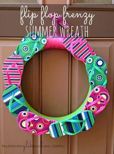 Flip Flop Frenzy Summer Wreath add Welcome, flowers, & bow Summer Crafts, Fun Crafts, Diy And Crafts, Arts And Crafts, Summer Fun, Wreath Crafts, Diy Wreath, Wreath Ideas, Door Wreaths