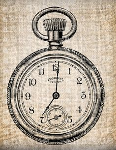 Antique Steampunk Victorian Pocket Watch Time Piece Digital Download for Tea Towels, Papercrafts, Transfer, Pillows, etc No 6715
