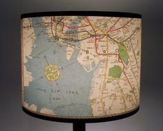 """New York subway map lamp shade, 11"""" drum shade. $42.00, via Etsy."""