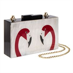 Blue Banana Flamingo Swirl Box Clutch Bag (White/Black) ($31) ❤ liked on Polyvore featuring bags, handbags, clutches, blue purse, hard clutch, blue clutches, black and white handbags and white and black purse