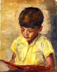 Menino lendo, 1961 [retrato de seu irmão Bill] Susan Dorothea White (Austrália, 1941) óleo sobre madeira www.susandwhite.com.au
