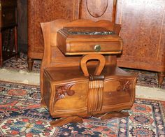 Beautiful French Antique Art Deco Walnu Nightstand / Side Cabinet Lamp End  Table
