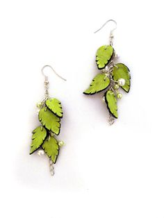 Dangle leather earrings with leaves, by julishland #Etsy