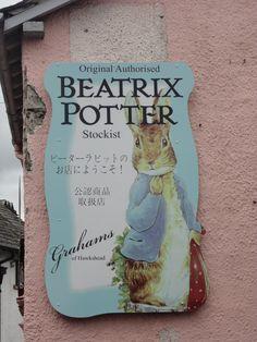 Many charming peter rabbit shops in hawkshead UK.