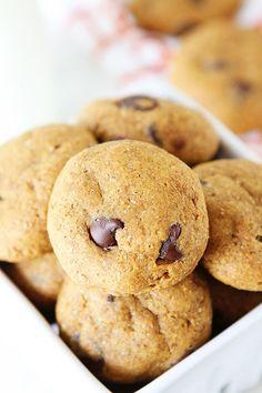 Healthy Pumpkin Chocolate Chip Cookie Recipe on twopeasandtheirpod.com #recipe
