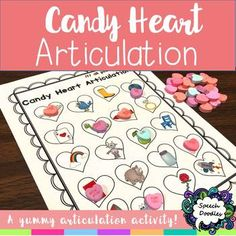 This Candy Heart Articulation activity is a fun and yummy way to practice sounds! Each sound page comes in both color and black and white! This is meant to be played like black-out bingo, using conversation hearts as the bingo chips! You could also use the black and white version and have students color