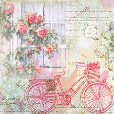 Láminas decoupage con bicicletas, flores, hadas, collages digitales by Nena Kosta Decoupage Vintage, Vintage Shabby Chic, Vintage Cards, Vintage Paper, Paper Art, Paper Crafts, Rose Pictures, Bike Art, Vintage Pictures