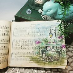 """For my birthday, a friend gave me this delightfully well worn and loved """"Good As Gold"""" hymnal. Sleep was eluding me last night and when I… Scripture Art, Bible Art, Hymn Art, Bible Journal, Gratitude Journals, Journal Art, Art Journaling, Watercolor Cards, Watercolor Pictures"""