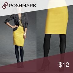 Mustard Yellow CAbi Pencil Skirt This baby goes for $20-$25 used on other sites, but given that it has some wear, I've priced it as a steal! Slight pilling at the waist and there's a faint stain in 4th picture but it's very hard to see. Looks great with classic black tights and adds a pop of colour to any business/office outfit! Size 4 but could also fit a size 6 on the tighter side. Questions and offers welcome! CAbi Skirts Pencil