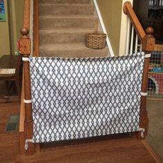 Fabric Baby & Pet Gate Hooks Directly to Staircase Wall Puppy Gates, Fabric Baby Gates, Baby Gate For Stairs, Etsy Fabric, Pet Gate, Front Steps, Banisters, Home Decor Fabric, Dogs