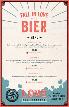 Love All Weekend Menu By Rev Pop in Menu Design
