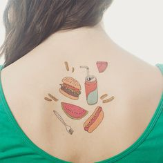 Picnic set temporary tattoo.