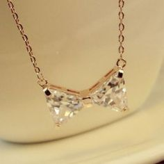 $8.52 Chic Faux Gemstone Bowknot Pendant Alloy Necklace For Women