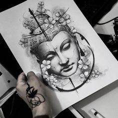 japanese with tattoos #Japanesetattoos Buddha Tattoos, Buddha Tattoo Design, Leg Tattoos, Body Art Tattoos, Small Tattoos, Sleeve Tattoos, Tattoos For Guys, Tattoos For Women, Cool Tattoos
