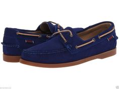 Sebago Docksides Size 7 Blue Suede Boat Slip-Ons Loafers Mens Shoes NEW Elvis #Sebago #BoatShoes